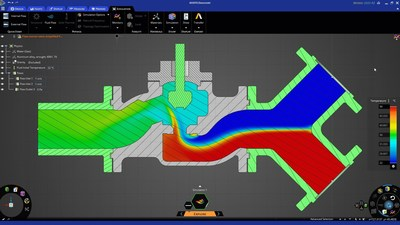 Ansys Discovery performs high-fidelity simulation of fluid flow behavior within a flow control valve