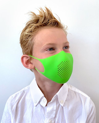 GIR Kids Masks fit children 4-10 years of age. Here, it's shown on GIR founder Samantha Rose's oldest son Jack. Jack is 7 years old, loves legos and digging for rocks in the backyard, and is wearing a glow-in-the-dark Limeade kids mask.