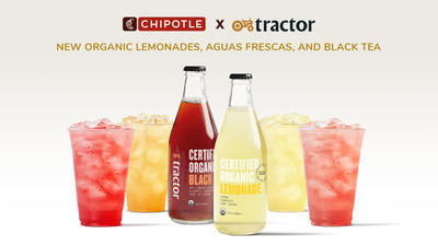 Chipotle will serve new non-GMO and certified organic Lemonades, Aguas Frescas, and Tea from farmer-created Tractor Beverage Co. at participating locations starting July 21.