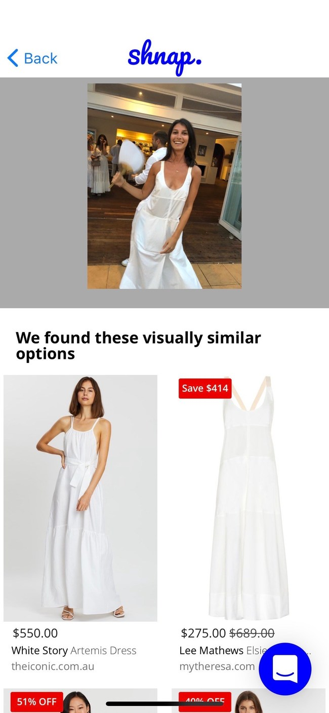 Shnap of a White Dress and the corresponding results (Vicky Hendler)