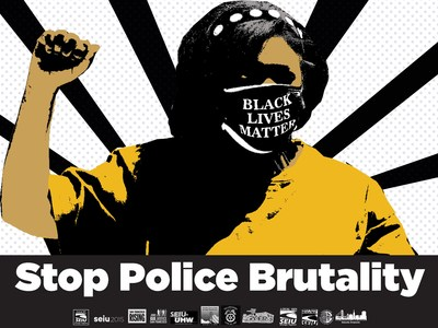 """A poster for the rally featuring a union member with a Black Lives Matter face mask on. The caption reads: """"Stop Police Brutality"""" and the participating unions and organizations are listed at the bottom."""