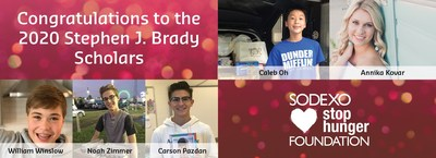 Five students were honored with the Stephen J. Brady Stop Hunger Scholarship, which recognizes students who drive awareness and mobilize youth that provide solutions to eliminate hunger in America. Five national winners receive a $5,000 grant and a $5,000 scholarship.