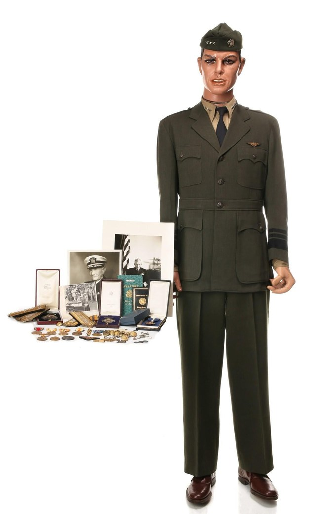 Military career archive of Admiral John S. McCain, including his uniform, many medals including Navy Cross and Distinguished Service Medal; aviator certificate, documents signed by Halsey, Roosevelt, MacArthur, Truman. Formerly the property of the McCain family. Estimate $40,000-$60,000