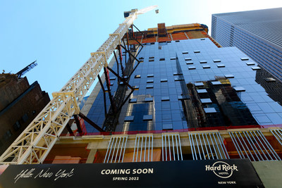 A street-level view from the site of the future Hard Rock Hotel New York, located at 159 W. 48th Street in New York City's iconic Times Square district. The new luxury hotel is scheduled to open its doors in Spring 2022. PHOTO CREDIT: Lori Berkowitz