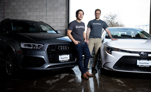 TORONTO - Clutch CEO Dan Park (left) and COO and Founder Steve Seibel are creating an end-to-end e-commerce experience for car buying in Canada. Clutch launched in 2016 in Halifax and entered the Toronto market earlier this year. Glenn Lowson photo (CNW Group/Clutch)