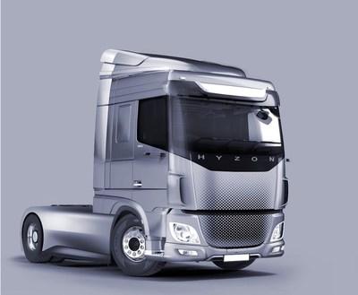 Rendu du camion à pile à hydrogène de classe 8 de HYZON Motors (PRNewsfoto/ReCarbon, Inc.)