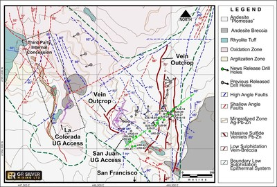 Figure 2: San Juan-La Colorada -San Francisco Area - Drill Hole Location Map - (CNW Group/GR Silver Mining Ltd.)