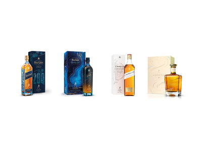 The whiskies pictured are: Johnnie Walker Blue Label 200th Anniversary Limited Edition Design; Johnnie Walker Blue Label Legendary Eight; John Walker & Sons Celebratory Blend; John Walker & Sons Bicentenary Blend (PRNewsfoto/Johnnie Walker)