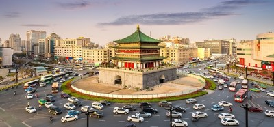 Tráfego urbano em Xi'an (PRNewsfoto/Hikvision)
