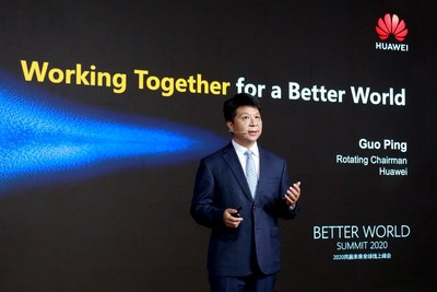 Guo Ping fala sobre o sucesso comercial do 5G no evento Better World Summit de 2020 (PRNewsfoto/Huawei)