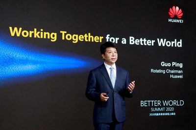 Guo Ping habla sobre el éxito comercial de 5G en la Cumbre por un Mundo Mejor 2020 (PRNewsfoto/Huawei)