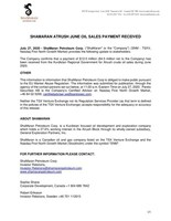 ShaMaran Atrush June Oil Sales Payment Received (CNW Group/ShaMaran Petroleum Corp.)
