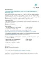 Lucara Second Quarter 2020 Results to be Released Monday, August 10, 2020 (CNW Group/Lucara Diamond Corp.)