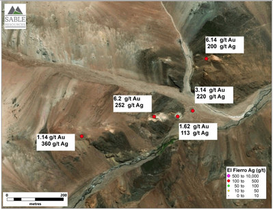 Figure 2. Distribution of received samples at Fierro Alto target (CNW Group/Sable Resources Ltd.)