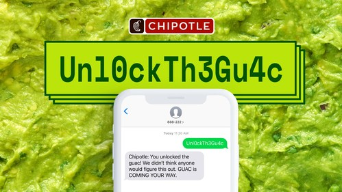 Chipotle fans can win free guac for a year by texting 888-222 and correctly guessing the secret password for one of six Chipotle Rewards accounts pre-loaded with 52 free guac rewards. The brand is also offering Chipotle Rewards members the opportunity to top off any entrée with free guac on July 31, National Avocado Day.