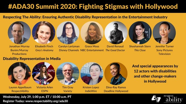 #ADA30 Summit 2020: Fighting Stigmas with Hollywood Headshots of 12 speakers grouped by panel - Respecting The Ability: Ensuring Authentic Disability Representation in the Entertainment Industry & Disability Representation in Media; special appearances by 12 actors with disabilities and other change-makers in Hollywood; Date. Time, Registration link, ASL interpretation symbol, RespectAbility logo