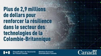 Renforcer la résilence dans le secteur des technologies de la Colombie-Britannique (Groupe CNW/Diversification de l'économie de l'Ouest du Canada)