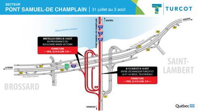 Entraves - Pont Samuel-De Champlain (Groupe CNW/Ministère des Transports)