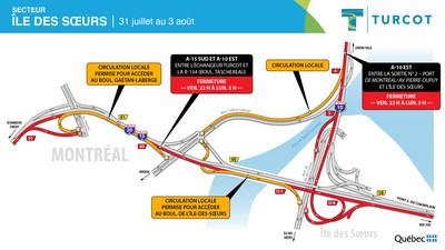 Entraves - Île-des-Soeurs (Groupe CNW/Ministère des Transports)