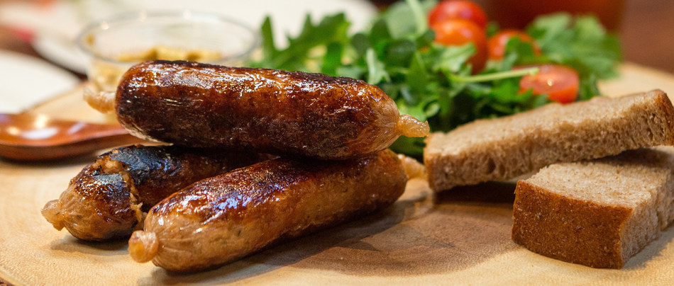 New Age Meats cultivated pork sausages