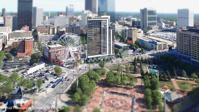 The 22 story dual-branded resort location will transform Atlanta's skyline and bring 200 suites for Club Wyndham and Margaritaville Vacation Club members to the heart of downtown Atlanta overlooking Centennial Park.