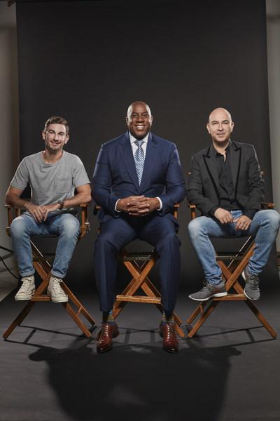 "(L to R) Uncle Bud's Co-Founder, Garrett Greller; Earvin ""Magic"" Johnson; Uncle Bud's Co-Founder, Bruno Schiavi"