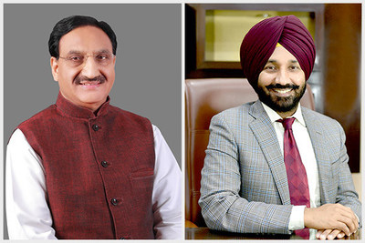 Union Minister for Education, Ramesh Pokhriyal and Satnam Singh Sandhu, Vice-President EPSI and Chancellor Chandigarh University