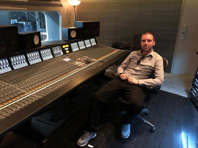 Chris Erhardt, CEO and Co-Founder of Tunedly in a recording studio in Los Angeles in December 2018.