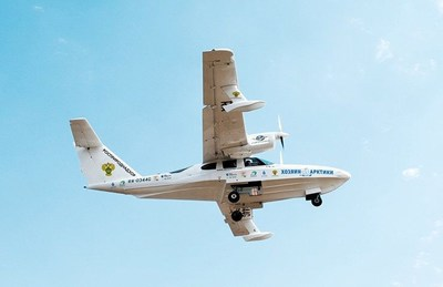 Indispensable assistant in the expedition -  LA-8, an amphibious aircraft. This Russian-made universal aircraft is designed for operation in all latitudes and climatic zones, both in freshwater and saltwater reservoirs. It can take off from dirt lanes, asphalt, concrete and snow. (PRNewsfoto/Clean Seas)