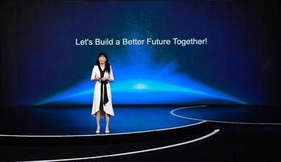 Catherine Chen prononce un discours liminaire (PRNewsfoto/Huawei)