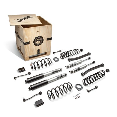 Mopar and Jeep Performance Parts (JPP) are offering new factory-engineered and quality-tested lift kits for the EcoDiesel-powered 4-door Jeep Wrangler and Jeep Gladiator models. Each kit contains the following parts: four springs, four FOX shocks, front lower control arms, front and rear stabilizer links, front and rear bump stops, various fasteners, and a JPP badge; all packaged in a custom, reusable wooden crate with JPP logo.