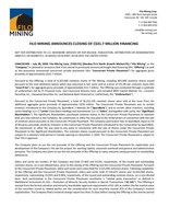 Filo Mining Announces Closing of C$41.7 Million Financing (CNW Group/Filo Mining Corp.)