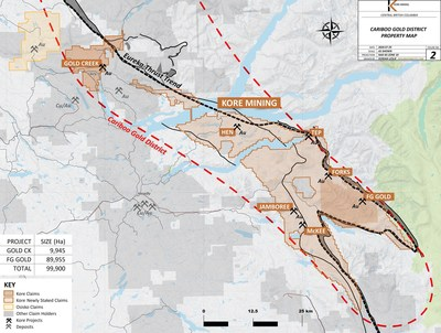 Figure 2 – Detailed Claim Map of Southern Cariboo Gold District (CNW Group/Kore Mining)