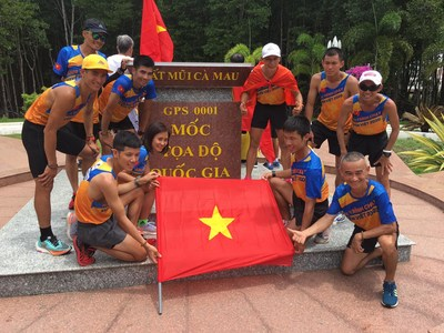 "Vietnam Ekiden team completing the 10-day ""Trans-Vietnam Run"" at Ca Mau Cape at 11:00hr on June 20, 2020."