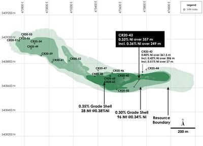 Figure 1 - Plan View of Main Zone Nickel Resource, Crawford Nickel-Cobalt Sulphide Project, Ontario. (CNW Group/Canada Nickel Company Inc.)