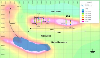 Figure 2 - Plan View of East Zone Nickel Zone - Drilling Results overlain on total field magnetic intensity, Crawford Nickel-Cobalt Sulphide Project, Ontario. (CNW Group/Canada Nickel Company Inc.)