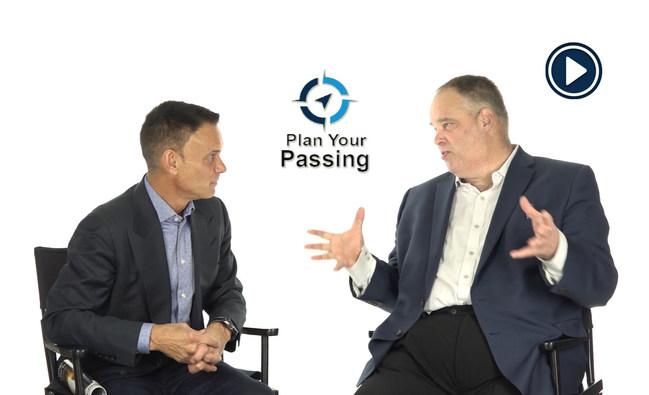 "Kevin Harrington, an original Shark on TV's ""The Shark Tank"" interviews Larry Berg, president of Plan Your Passing."