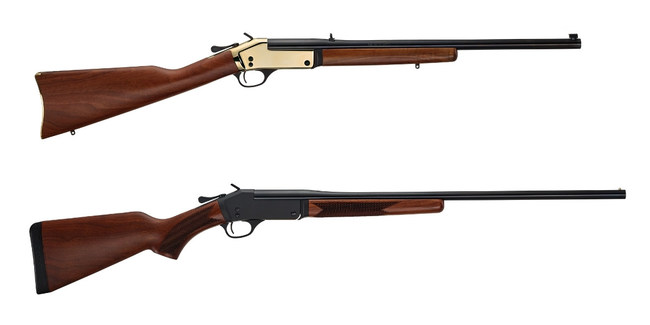 Henry Repeating Arms Brass Single Shot Rifle (top) and Steel Single Shot Shotgun (bottom). All H015 models are affected by a new voluntary safety recall.