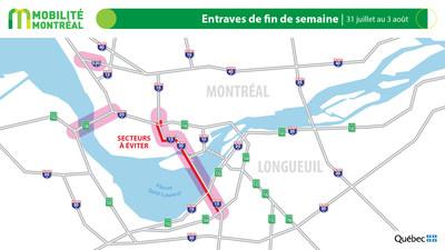 Carte générale des entraves, fin de semaine du 31 juillet (Groupe CNW/Ministère des Transports)