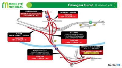Échangeur Turcot, fin de semaine du 31 juillet (Groupe CNW/Ministère des Transports)