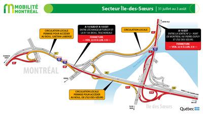 A15 sud et Île des Sœurs, fin de semaine du 31 juillet (Groupe CNW/Ministère des Transports)