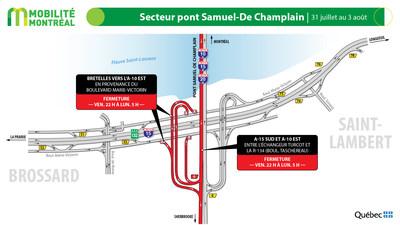 Pont Samuel-De Champlain et A10 est, fin de semaine du 31 juillet (Groupe CNW/Ministère des Transports)