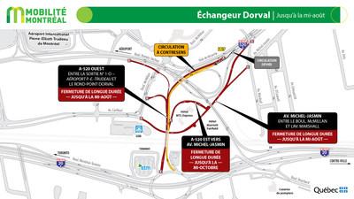 Rappel - échangeur Dorval et A520, jusqu'à la mi-août (Groupe CNW/Ministère des Transports)