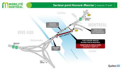 Rappel - pont Honoré-Mercier, jusqu'au 17 août (Groupe CNW/Ministère des Transports)