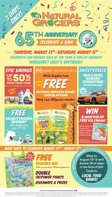 Join Natural Grocers, one of the country's leading natural and organic grocery retailers, as it celebrates 65 year of nutritional empowerment and education, and of offering nutritionally sound, sustainably produced foods at Always Affordable prices to the communities they serve. Visit stores for a chance to win over 1,700 prizes including a 2020 Subaru Crosstrek, shop the biggest discounts of the year, enjoy free treats, help raise money for the food bank fundraiser, and much more on August 13-15, 2020.