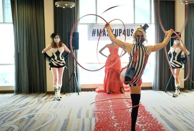 Grace Good, Circus Performer, Instructor & Owner of Grace Good Cirque Entertainment, performs while showing off her mask at the #MaskUp4USA Mask Fashion Show in Nashville on Thursday July 30th.