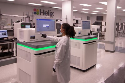 """Helix, the leading population genomics company, has been selected by the NIH and awarded $33.4 M in funding to become one of the nation's COVID-19 """"mega-labs"""" and scale daily capacity to 100,000 tests. Funding from the NIH RADx-ATP program will be used to support rapid scaling of Helix's end-to-end COVID-19 test system, making it one of the highest throughput COVID-19 laboratories in the country."""