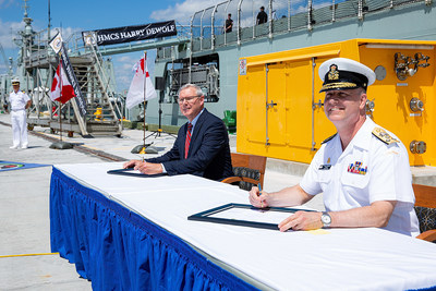 Mr. Kevin McCoy, President, Irving Shipbuilding Inc (left) and Vice Admiral Art McDonald, Commander of the Royal Canadian Navy (right) at the official Acceptance Ceremony for HMCS Harry DeWolf at CFB Halifax Dockyard. July 31, 2020. Photo Credit: Irving Shipbuilding Inc. (CNW Group/Irving Shipbuilding Inc.)