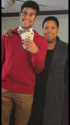 Tyler Spann, left, with his mother, Angie Spann.