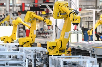 A sorting robot is working at SANY No.18 factory in Changsha.